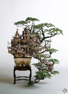 Bonsai tree house takanori aiba #tree #diorama #treehouse #bonsai #miniature