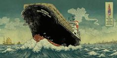 TIGER BEER ad campaign Yuko Shimizu #beer #illustration #ship #cargo #tiger #waves
