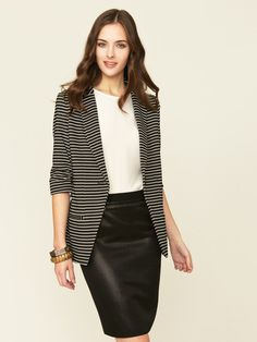 Shoshanna Striped Knit Boyfriend Blazer #gilt #blazer #stripe