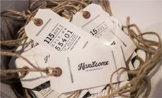 Handsome Cycles / Stamped hangtags by Marina Groh #identity #stamp #collateral #hangtag #stamped #marina groh #knock inc