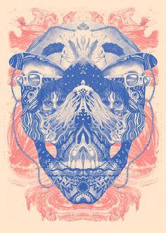 MIXED ILLUSTRATION by Valistika Studio BCN on the Behance Network #skull