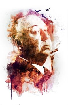 ALFRED HITCHCOCK Art Print by Elizabeth Cakovan | Society6 #alfred #illustration #hitchcock