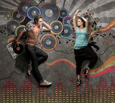 Chalk illustration of dance