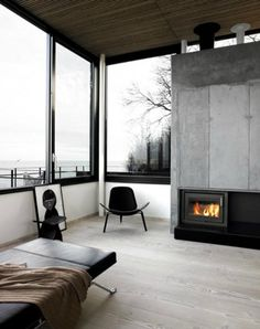 DeadFix » inside #black #home #glass #wood #monochrome #fireplace #lounge