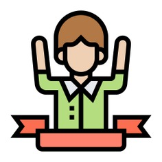 See more icon inspiration related to success, man, conquer, achievement, winner, user, boy, avatar, victory, person and people on Flaticon.
