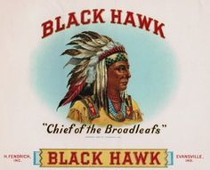 indian-blackhawk.jpg (494×400) #cigar #label #feathers #indian #chief