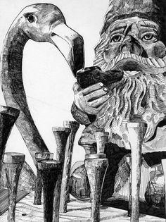 flamingnome #illustration #ink #drawing #realism