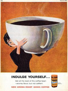 Life magazine Illustrated by John Falter 1960 #giant #woman #mug #coffee #1960