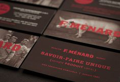 "lg2boutique  |  http://lg2boutique.com/en""The new identity of F. MÉNARD, a family business involved in the pork production trade, draw #branding #stationery"