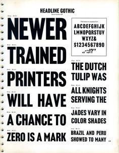 Headline Gothic Type Specimen #type #specimen