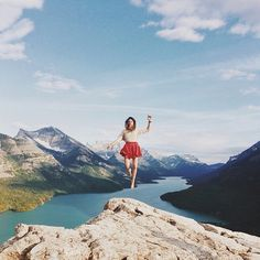 girl, mountain