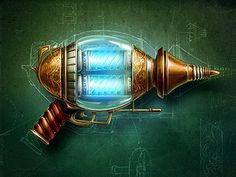 Steampunk #gun #steampunk #ray #vintage #blueprint
