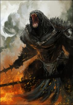 Bad Mood by ~Happy Mutt on deviantART #fantasy #roar #soldier #ape #primate #illustration #gorilla #warrior