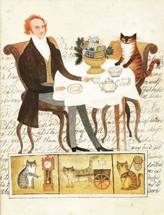 A Visit to William Blake's Inn: Vintage Illustrated Verses for Innocent and Experienced Travelers | Brain Pickings #illustration #cat #tea