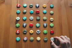 A years worth of buttons #branding #design #geometric #pins #buttons