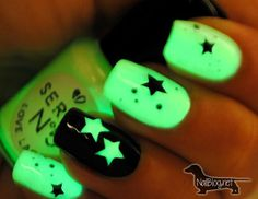 Revel in neon green glow in the dark of stars plus a striking background and silhouettes of black.