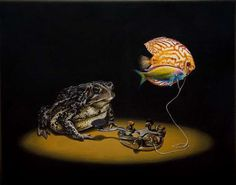 Frog and fish in animal surreal art #surrealism #realism #painting #paintings #art #animal