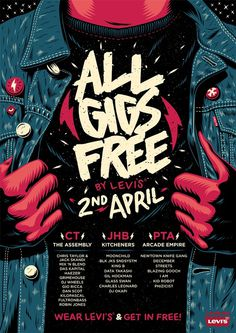 All Gigs Free: By Levi's Poster #illustration #gig #poster