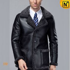 Fur Lined Black Sheepskin Coat CW819436