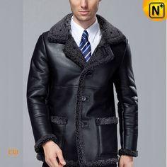 Fur Lined Black Sheepskin Coat CW819436 #sheepskin #coat