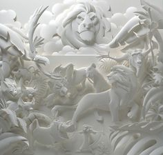 Jeff Nishinaka Paper Sculptures | The Import Design Blog #paper #white #structure #animals