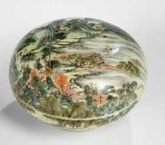 Lidded box with enamel decoration of a Jiangnan scene #Sets #Tea sets #Porcelain sets #Antique plates #Plates #Wall plates #Figures #Porcelain figurines #porcelain