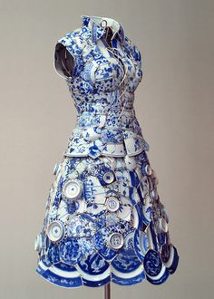 li xiaofeng creates wearable dresses and other items of clothing using fragments of traditional chinese porcelain [from the song, ming, yuan