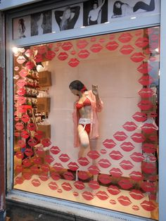 Valentine's Day Window Display in one of our Paris stores!#Vday2013 #windowdisplay #merchandizing #lingerie