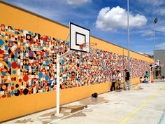 New-Electra-School-Mural-by-Anna-Taratiel-01 #geometry #mural #wall #art #street