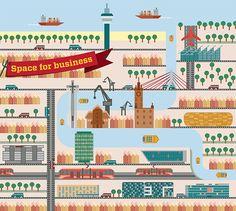 Gdansk city illustrations poland