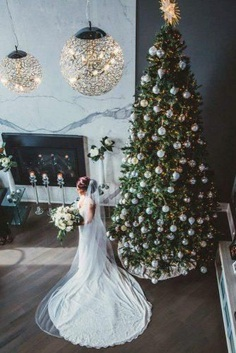 Christmas decorations, like pine boughs and cones, can be used anywhere starting from wedding treats and finishing with unforgettable ceremonies. Look through our christmas wedding gallery to find unique ideas.