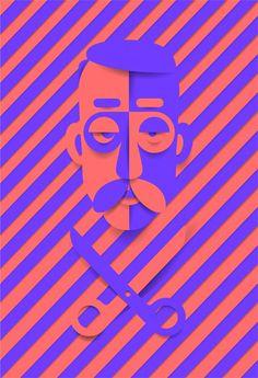 Cutout Sam #red #papers #scissors #mustache #stripe #portrait #blue #face #man #cutout
