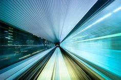 Train to Odaiba, Tokyo #train #speed #tokyo #photography #transport #light