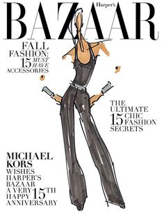 Harper`s Bazaar Russia 15th Anniversary by Michael Kors October 2011 #illustration #fashion #russia #bazaar #drawing #sketch