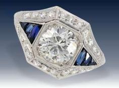 Ring: sehr wertvoller antiker Diamantring, vermutlich aus der Zeit des Art déco