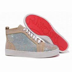 2012 New Arrivals Apricot Christian Louboutin Louis Strass High Top Mens Suede Red Sole Sneakers #shoes