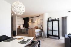 kitchen, dining room, living room