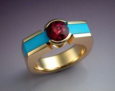 Woman's ring with Tourmaline and Turquoise #ring