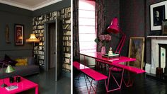 35 Incredible Neon Interior Designs #floors #pink #black #desk #walls