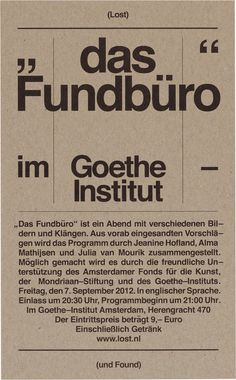 Lost & Found: Goethe Institut (07–09–2012) #dutch #poster