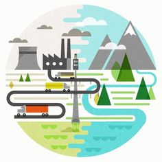 Dribbble - good_planet-final.jpg by Tyler Hoehne #city #trucks #hoehne #illustration #pipe #tyler #factory #mountains