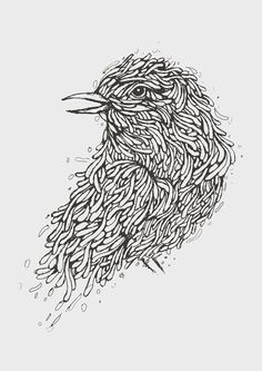 Grey Bird Illustration Art Print #line #arts #birds #illustration #organic