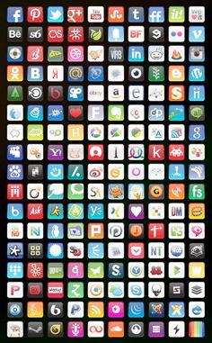 Glossy Round Corners Icons #graphic #icons #art