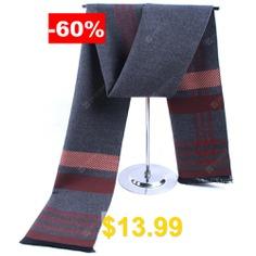 Men's #Winter #Fashion #Classic #Striped #Scarf #Soft #Long #Neckerchief #- #GRAY