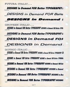 Filmotype type specimen