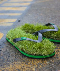 CJWHO ™ (KUSA Grass Flip Flops by wantcy Walk barefoot on...) #grass #design #flip #nature #flops #fashion #want #green