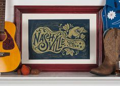 Nashville Song Bird Block Print on Behance #print #typography