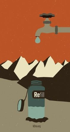 Michael McMillan #water #refill #retro #illustration #poster #mountains