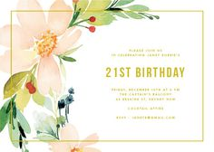 Floral Edge - Birthday Invitations #birthday #invitation #birthdayinvitation #paper #cards #digitalcards #design #flower #floral #print