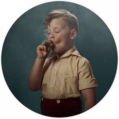 smoking kids | InspireFirst #cigar #boy #kid #child #photography #smoking #teal